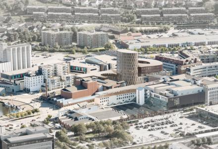 SANDNES: Utvidelse av hotell og kino i AMFI kvartalet, samt gangbro og høyhus i Elvegaten 25. (SKISSE: Aros Arkitekter)
